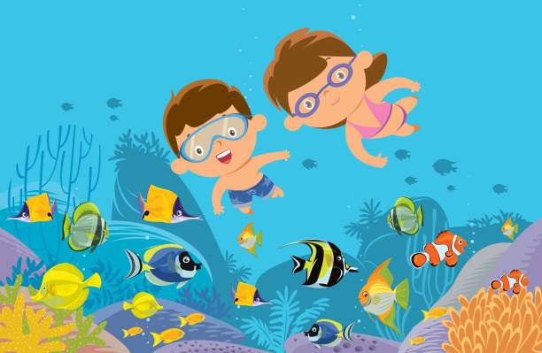illustrazioni stock, clip art, cartoni animati e icone di tendenza di diving - nuoto mare