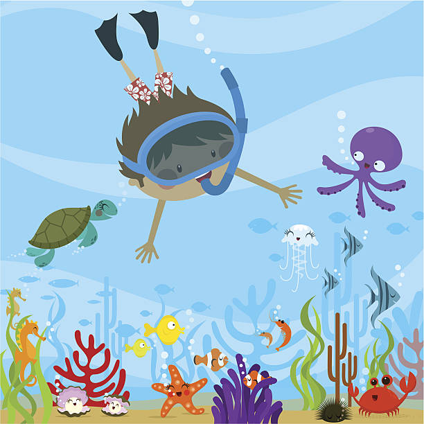 diving - cartoon kids stock illustrations, clip art, cartoons, & icons