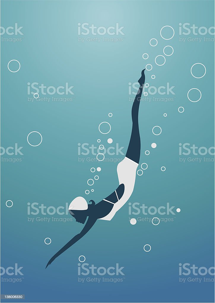 Diving woman silhouette vector art illustration