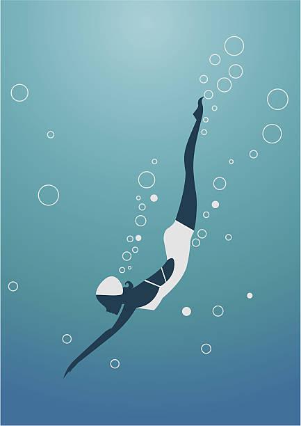 Silhueta de mulher de mergulho - ilustração de arte em vetor