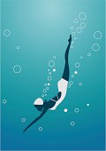 Diving woman silhouette