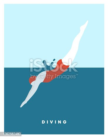 istock Diving woman. Woman character dives. jumping into water a jump of a sporty woman into swimming pool. Female wearing swimming suit jumping in water. Modern style. Vector flat illustration. 1262582480