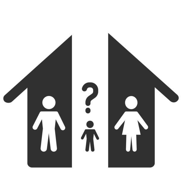 stockillustraties, clipart, cartoons en iconen met verdeling van de goederen tijdens de echtscheiding en de keuze van het kind met wie hij zal blijven. pictogram - couple fighting home