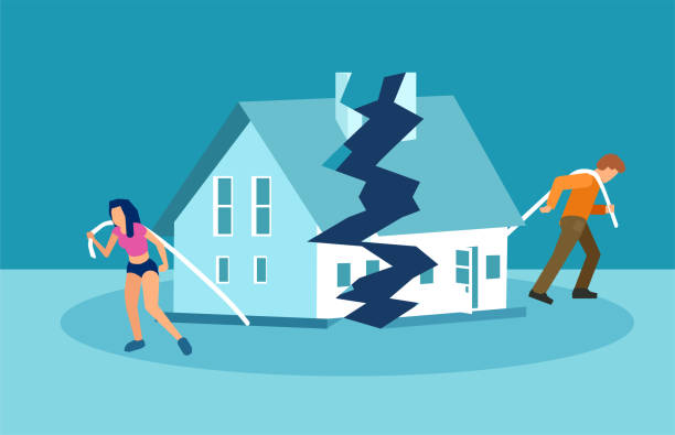 Divorce and marriage problems vector concept Divorce and marriage problems vector concept. Man and a woman are dragging apart their half of the house. alimony stock illustrations
