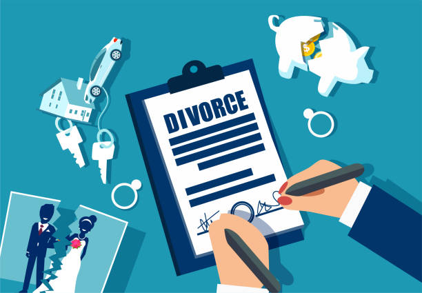 Divorce and property divison concept. Divorce and property divison concept. Vector with piggy bank, house, car and marriage photograph divided in half alimony stock illustrations