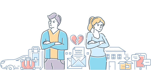 stockillustraties, clipart, cartoons en iconen met echtscheiding - kleurrijke lijn ontwerp stijl illustratie - couple fighting home