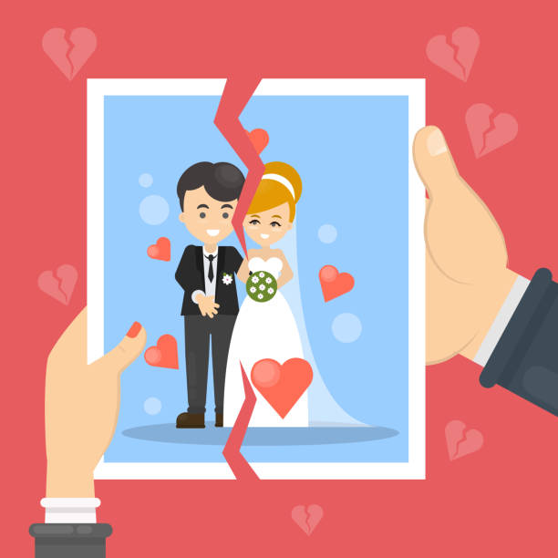 illustrazioni stock, clip art, cartoni animati e icone di tendenza di divorce concept illustration. - divorce