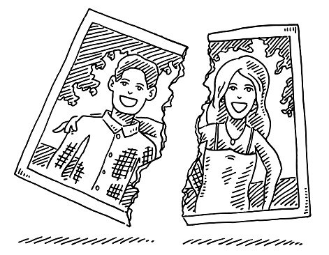 Hand-drawn vector drawing of a Divorce Concept, Broken Paper Print of a Couple. Black-and-White sketch on a transparent background (.eps-file). Included files are EPS (v10) and Hi-Res JPG.