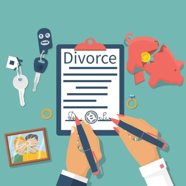 illustrazioni stock, clip art, cartoni animati e icone di tendenza di divorce concept  vector - divorzio