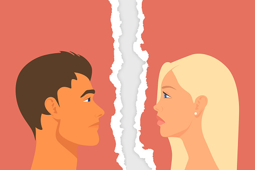 Divorce Couple. Sad People - Man and Woman - Portrait Closeup on Torn Ripped Paper Background. Quarrel, Scandal, Relationship Problems Concept. Stock Vector Illustration