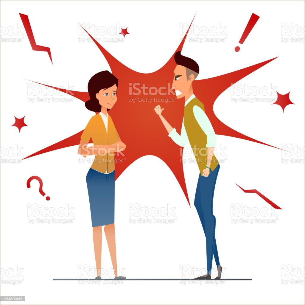 Ilustración De Divorcio Luchar Y Discutir Dos Personas Se