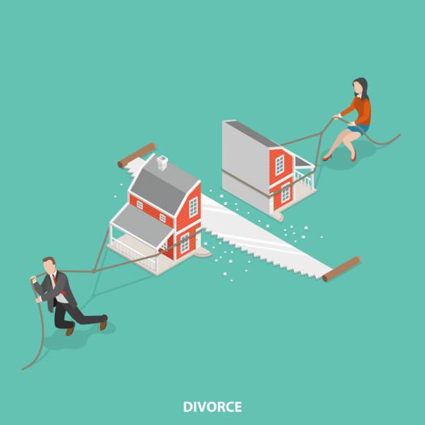 illustrazioni stock, clip art, cartoni animati e icone di tendenza di divorce flat isometric vector concept. - divorzio