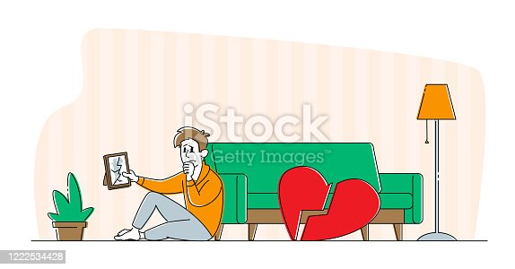 istock Divorce or Separation Concept. Depressed Heartbroken Man Character Sitting on Floor with Pieces of Red Broken Heart and Crying. End of Love and Loving Relations, Loneliness. Linear Vector Illustration 1222534428