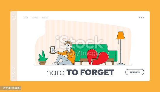 istock Divorce or Separation Landing Page Template. Depressed Heartbroken Man Character Sitting on Floor with Pieces of Red Broken Heart and Crying. End of Love, Loving Relations. Linear Vector Illustration 1223970096