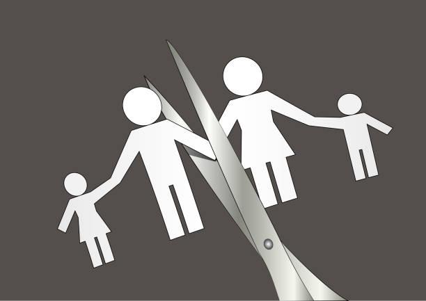 illustrazioni stock, clip art, cartoni animati e icone di tendenza di divorce, scissors cut paper silhouette of family, horizontal vector illustration - divorce