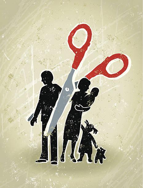 illustrazioni stock, clip art, cartoni animati e icone di tendenza di divorzio-forbici taglio attraverso una famiglia - divorzio