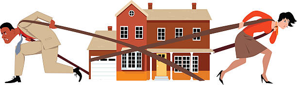 Divorce Man and woman pulling a house apart as a metaphor for a divorce and division of assets, EPS 8 vector illustration, no transparencies alimony stock illustrations