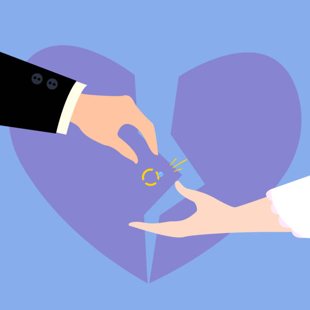 illustrazioni stock, clip art, cartoni animati e icone di tendenza di divorcement of couple. broken heart, diamond ring - divorzio