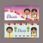 Diwali or Deepavali banner template design.Cute cartoon India kids, india lantern and diya. Festival of Lights celebration vector illustration.