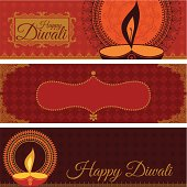 A set of banners celebrating the Indian festival of Diwali. (Includes .jpg)