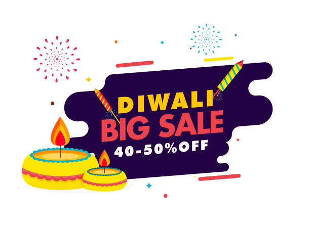 Diwali Big Sale Poster Design with 40-50% Discount Offer, Illuminated Oil Lamps (Diya) and Firecracker Rockets on White and Purple Background. vector art illustration