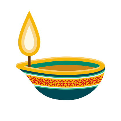 Diwali Candle Icon on Transparent Background