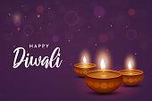 Diwali card with diya on purple background. Vector illustration. EPS10