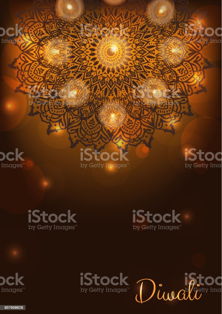 Diwali card with lit lamps or candles, flames and lights. Burning diya. Indian festival background vector art illustration