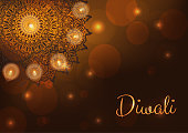 Diwali card with lit lamps or candles, flames and lights. Burning diya. Indian festival background