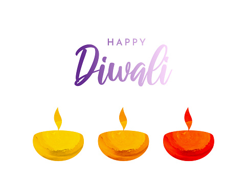 Diwali card with watercolor lamps. Vector