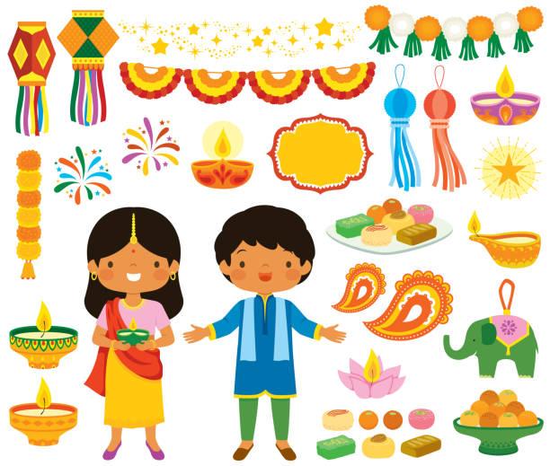 Diwali clipart set vector art illustration