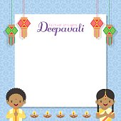 Diwali message notes or copy space with india lanterns, cute Indian kids and diya (india oil lamp). Festival of Lights celebration vector illustration.