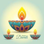 Diwali / Deepavali greeting with beautiful burning diwali diya (india oil lamp). Festival of Lights celebration vector illustration.