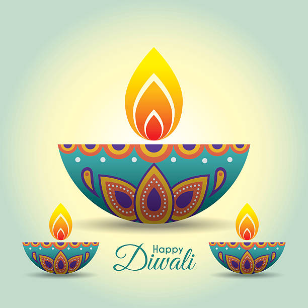 diwali diya 3 - diwali stock illustrations, clip art, cartoons, & icons