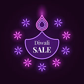 Diwali Diya, Sale banner in bright Neon style. Vector illustration of Neon Diya lamp with illumination, Diwali Sale. Indian Festival of Lights, Flame and Fireworks. Violet and purple colors