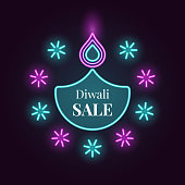 Diwali Diya, Sale banner in bright Neon style. Vector illustration of Neon Diya lamp with illumination, Diwali Sale. Indian Festival of Lights, Flame and Fireworks. Turquoise and purple colors