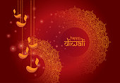 Diwali Festival Background Design Template with Round Floral and Lamps