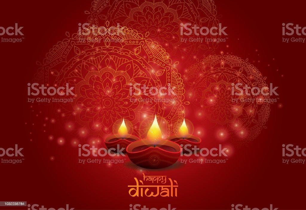 Modèle de conception de fond fête de Diwali - Illustration vectorielle