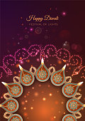 Traditional Diwali festival background with burning diya lamps and light effects