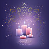 Traditional Diwali festival background with burning candles and light effects