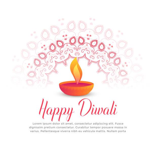 diwali festival burning diya and mandala art - diwali stock illustrations