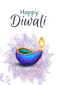 Diwali festival celebration hand drawn vector illustration.