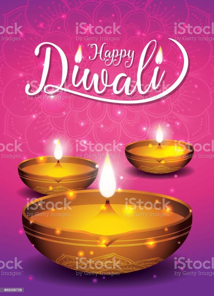 Fond de flyer et affiche festival diwali - Illustration vectorielle