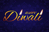 Diwali festival greeting card template. Vector Happy Diwali text with candle lights on blue background.