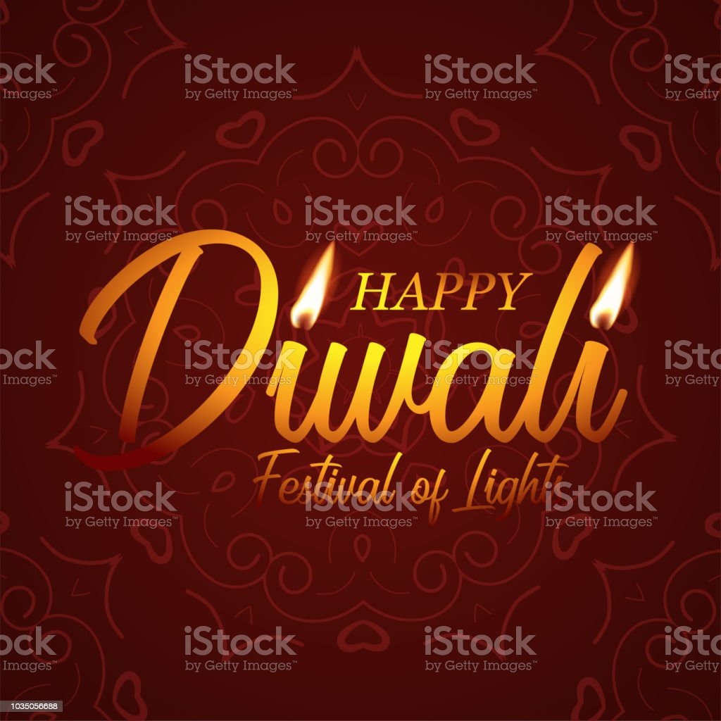 Diwali Festival Greeting Card Template Vector Happy Diwali Text With