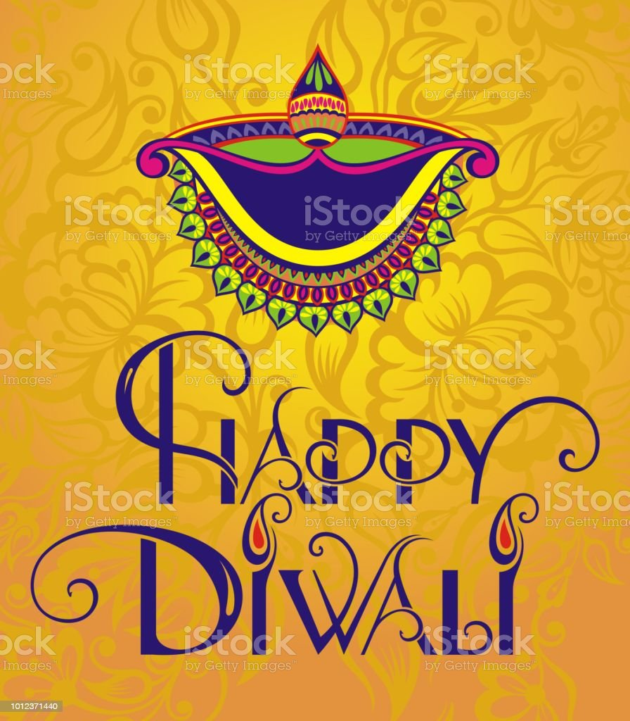 Diwali festival greeting card with diwali diya stock vector art diwali festival greeting card with diwali diya oil lamp royalty free diwali festival m4hsunfo