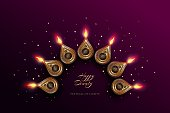 Diwali festival holiday design with golden national lamps in the style of Rangoli. Indian National Festival of Lights Deepavali. Trendy ultraviolet background color. Vector illustration