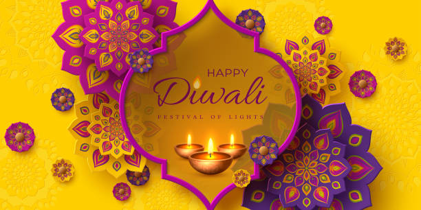 Diwali festival holiday design. Diwali festival of lights holiday design with paper cut style of Indian Rangoli and diya - oil lamp. Purple color on yellow background. Vector illustration. diwali stock illustrations