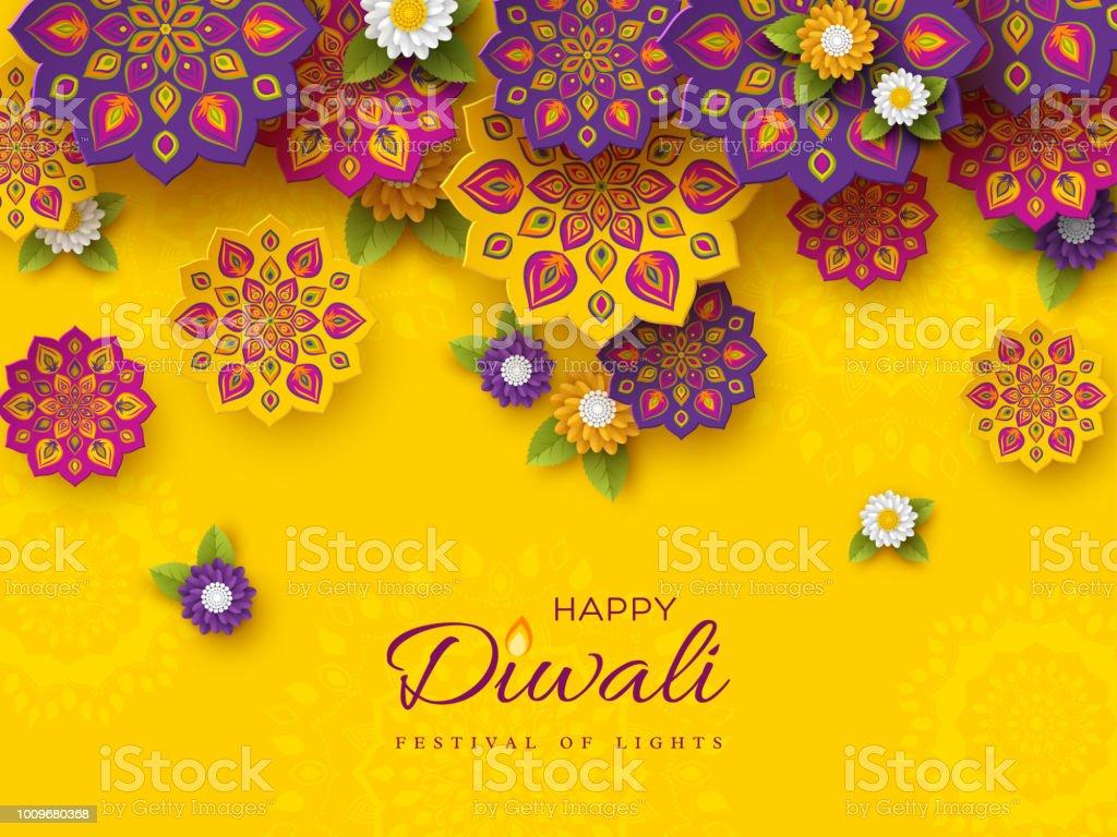 Stil Hint Rangoli ve çiçek kesme Diwali festivali tatil tasarım kağıt ile. Mor, mor renkler sarı arka plan, vektör çizim üzerinde. vektör sanat illüstrasyonu