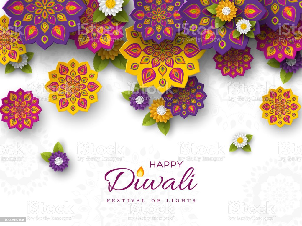 Diwali Festival Holiday Design With Paper Cut Style Of Indian Rangoli And Flowers Purple